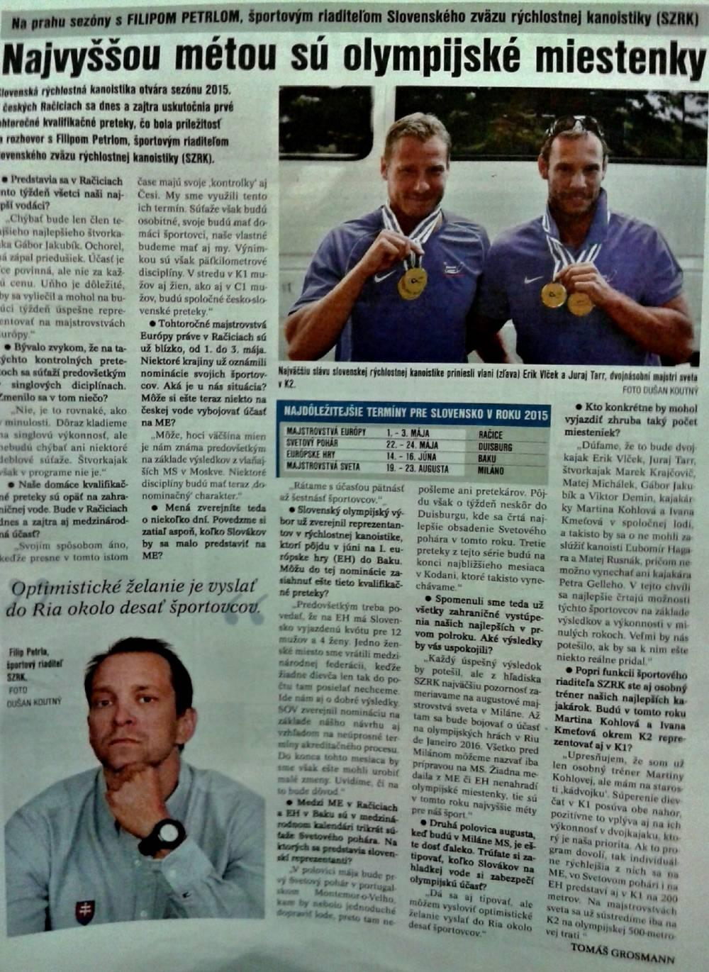 9576b21ae5 Filip Petrla v denníku ŠPORT  Najvyššou métou sú olympijské miestenky
